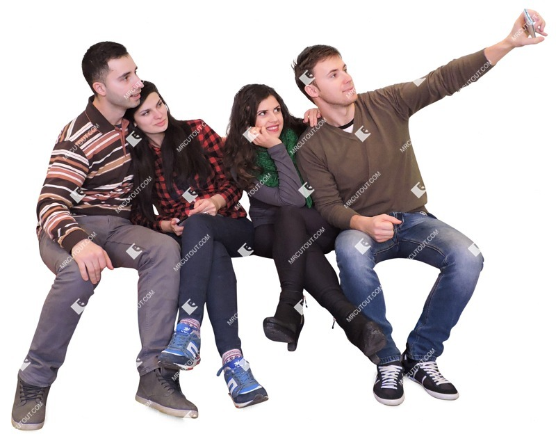 Cut out people - Group Of Friends With A Smartphone Sitting 0003 preview