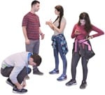 Cut out people - Group Of Friends With A Smartphone Standing 0002 | MrCutout.com