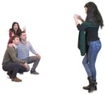 Cut out people - Group Of Friends With A Smartphone Standing 0008 | MrCutout.com
