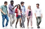 Cut out people - Group Of Friends With A Smartphone Walking 0002 | MrCutout.com