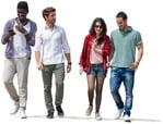 Cut out people - Group Of Friends With A Smartphone Walking 0006 | MrCutout.com