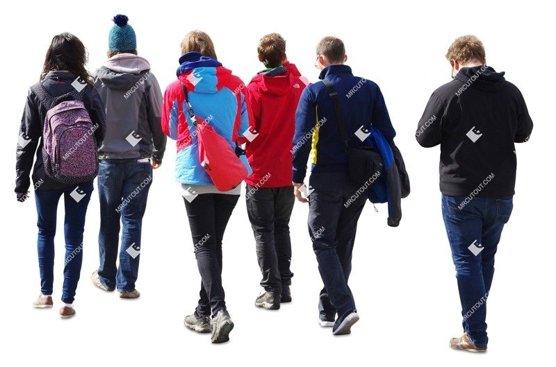 Cut out people - Group Of Teenagers Walking 0003 preview