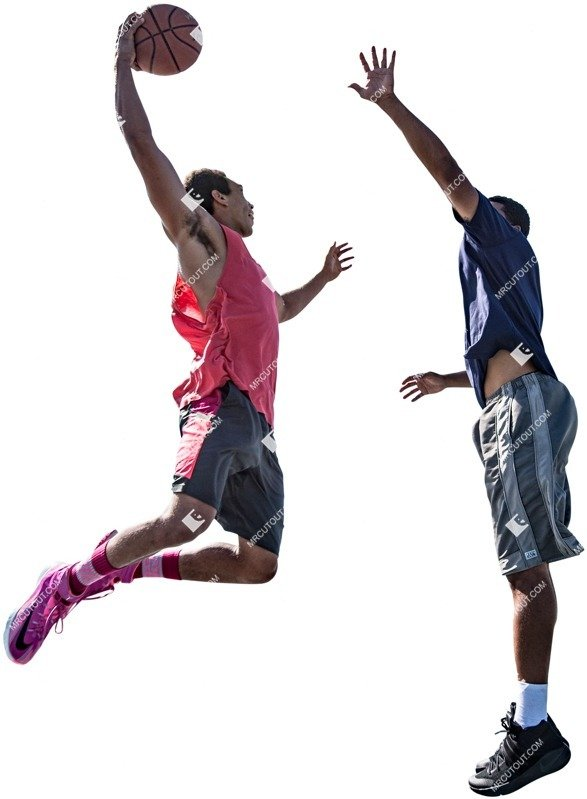 People playing basketball two African man jumping people png