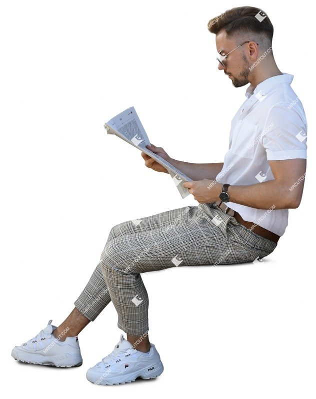 Cut out people - Man Reading A Newspaper 0001