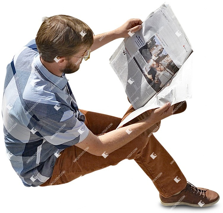 Cut out people - Man Reading A Newspaper Sitting 0003 preview