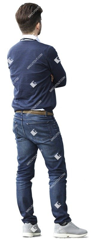 Human png man standing wearing jeans and sweater seen from the back cutout