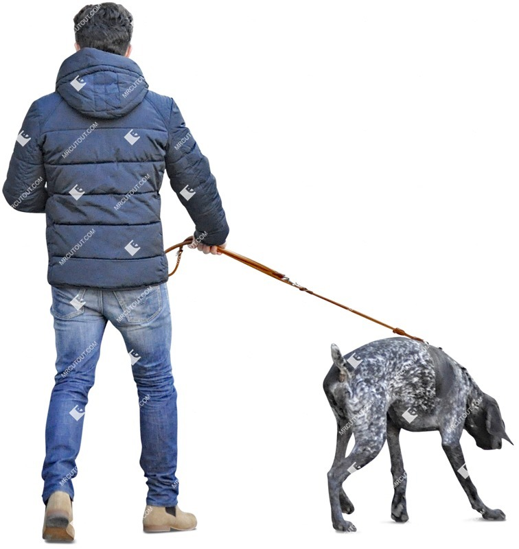 Cut out Man Walking The Dog 0002 preview
