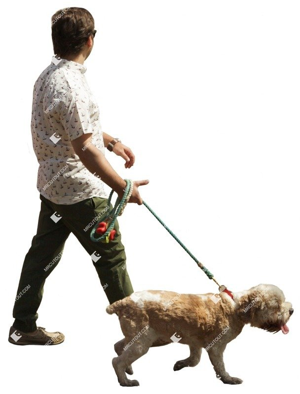 Cut out Man Walking The Dog 0005 preview
