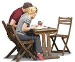 Cut out Mature Adult Couple Man Chair Object Table 0001 | MrCutout.com