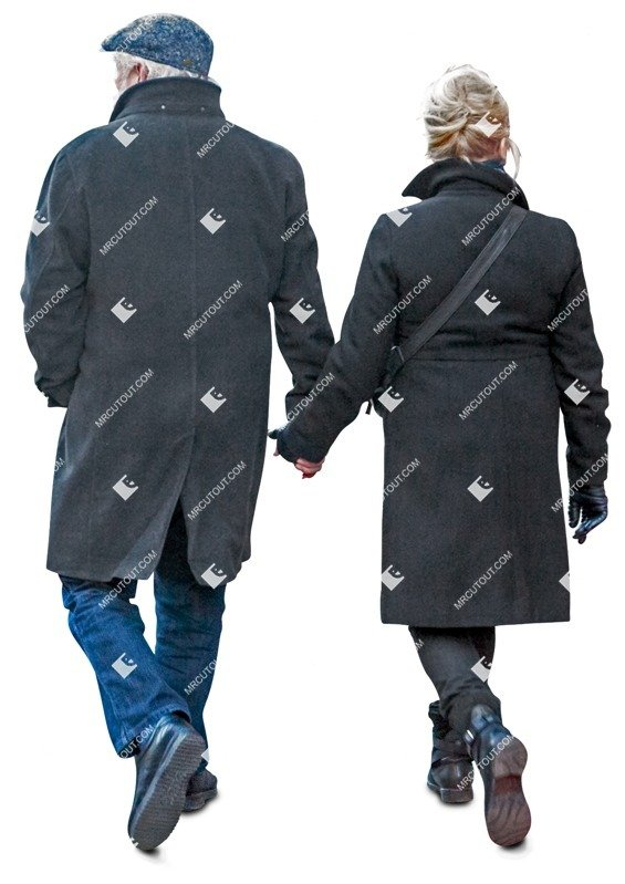 Cut out people - Middle Age Elderly Couple Man Woman Grandfather Grandmother Walking 0001 preview