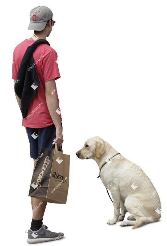 Cut out Teenager Walking The Dog 0001 preview