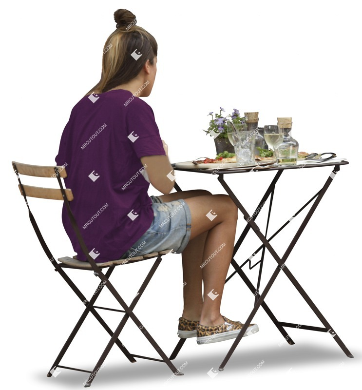 Cut out Teenager Woman Chair Object Table 0001 preview