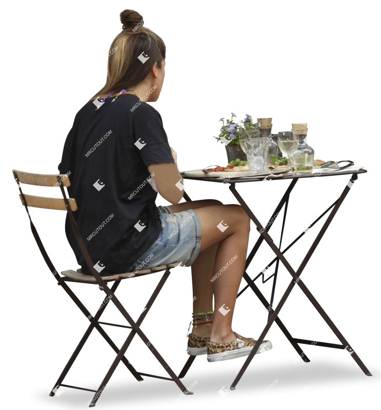 Cut out Teenager Woman Chair Table 0001 preview