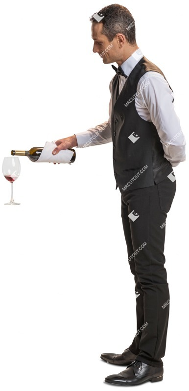 Cut out people - Waiter Standing 0024