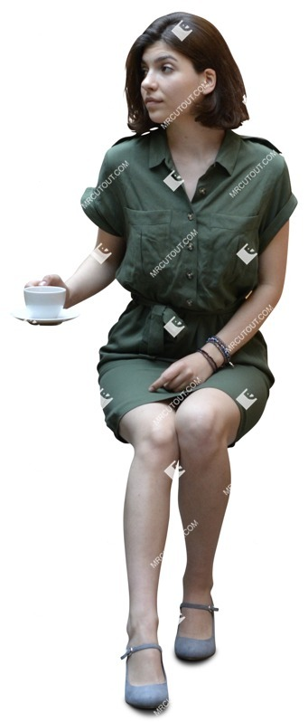 Cut out people - Woman Drinking Coffee 0023