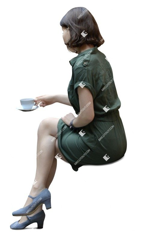 Cut out people - Woman Drinking Coffee 0046