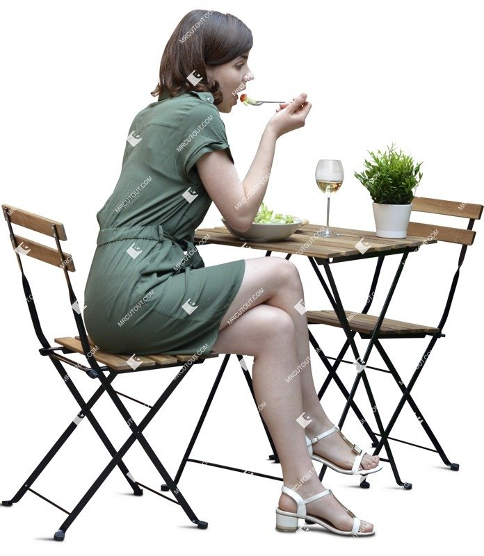 Cut out people - Woman Eating Seated 0003 preview