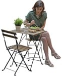 Cut out people - Woman Eating Seated 0004 | MrCutout.com