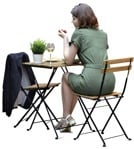 Cut out people - Woman Eating Seated 0006 | MrCutout.com