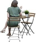 Cut out people - Woman Eating Seated 0007 | MrCutout.com