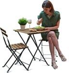 Cut out people - Woman Eating Seated 0008 | MrCutout.com