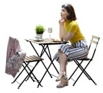 Cut out people - Woman Eating Seated 0014 | MrCutout.com