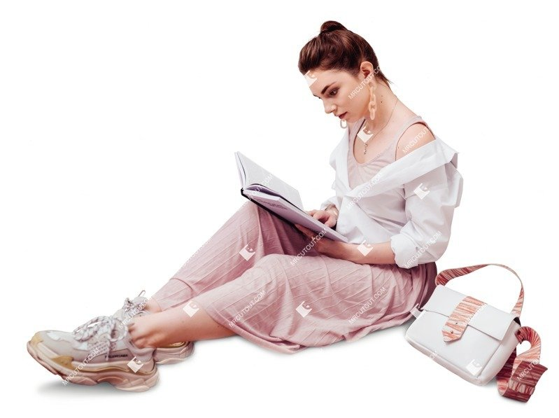 Cut out people - Woman Reading A Book Learning 0015 preview