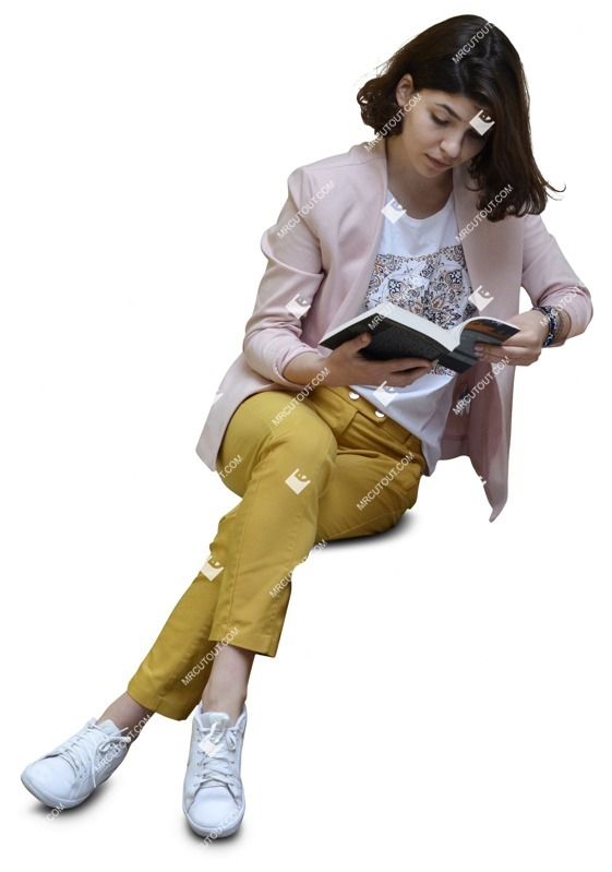 Cut out people - Woman Reading A Book Learning 0028 preview
