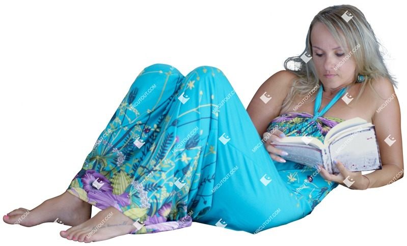 Cut out people - Woman Reading A Book Lying 0001 preview
