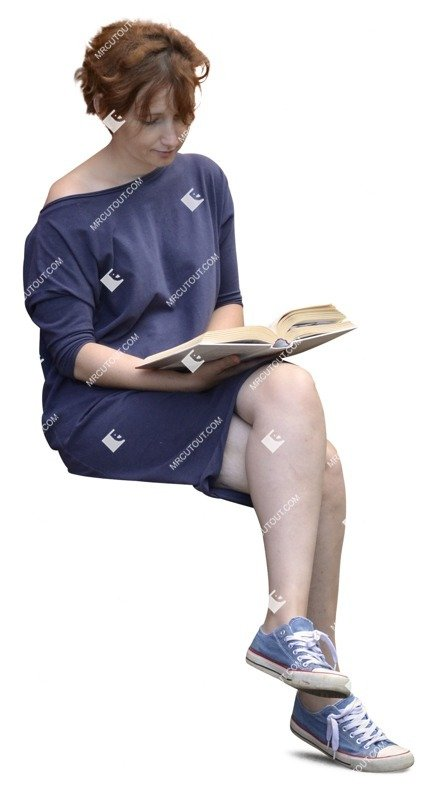 Cut out people - Woman Reading A Book Sitting 0002 preview