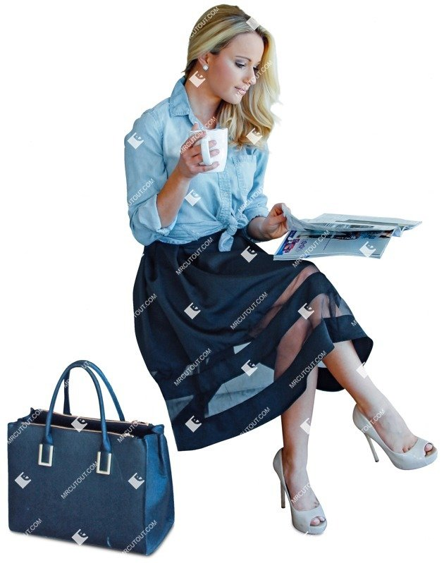 Cut out people - Woman Reading A Newspaper Drinking Coffee 0001 preview