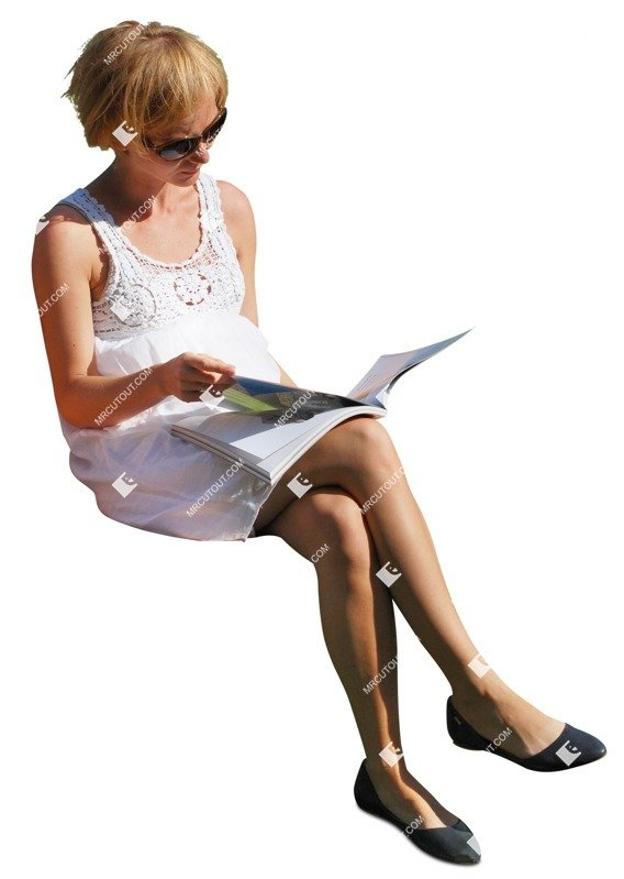 Cut out people - Woman Reading A Newspaper Sitting 0005 preview