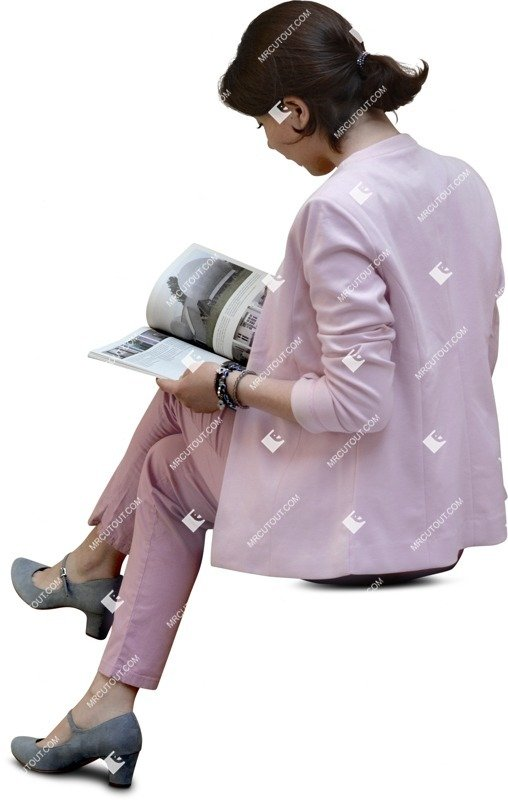 Cut out people - Woman Reading A Newspaper Sitting 0011 preview