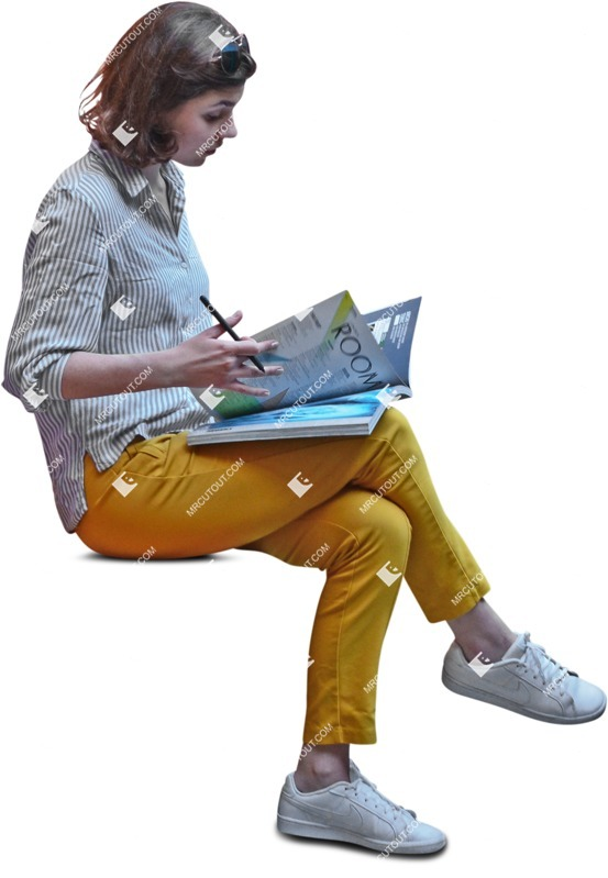 Cut out people - Woman Reading A Newspaper Writing 0002