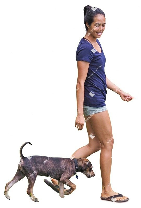 Cut out Woman Walking The Dog 0007 preview