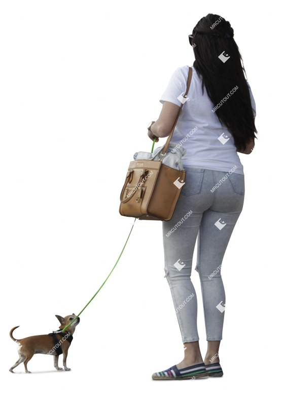 Cut out Woman Walking The Dog 0011 preview