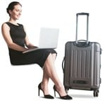 Cut out people - Woman With A Baggage Writing 0001 | MrCutout.com