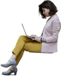 Cut out people - Woman With A Computer Sitting 0014 | MrCutout.com