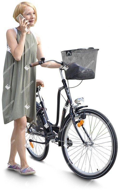 Cut out people - Woman With A Smartphone Cycling 0002
