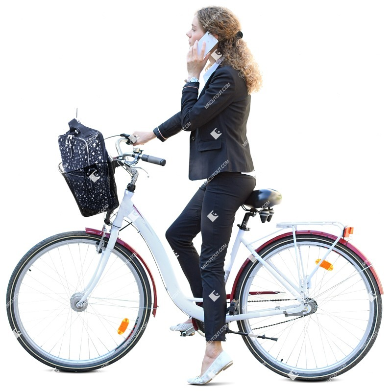 Cut out people - Woman With A Smartphone Cycling 0004