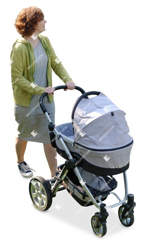 Cut out people - Woman With A Stroller Walking 0001