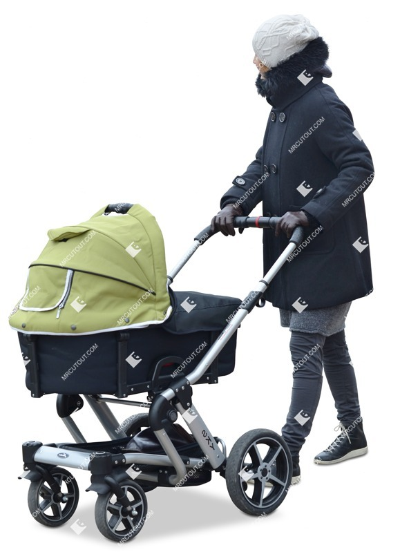 Cut out people - Woman With A Stroller Walking 0005