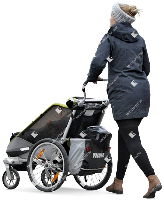 Cut out people - Woman With A Stroller Walking 0013 preview