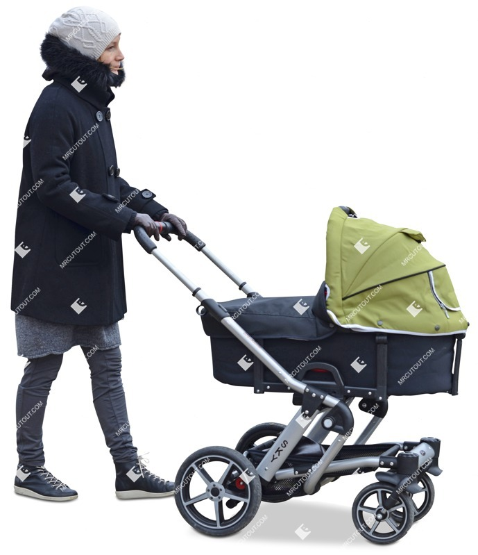 Cut out people - Woman With A Stroller Walking 0017 preview