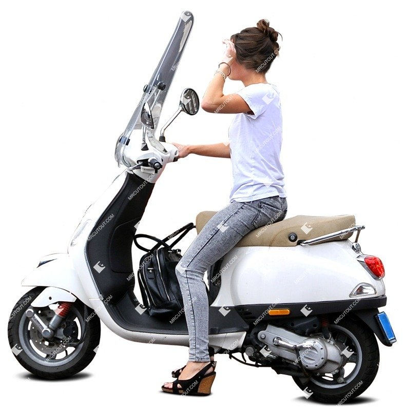 Cut out Young Adult Woman Scooter Airplain 0001 preview